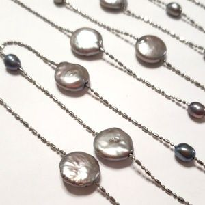 Jewelry - Silver & Pearl Strand Necklace Flat Round Cultured